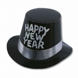 Black and Silver New Year Hi-Hats (sold 25 per box)