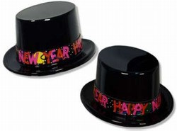 Black Plastic New Year Topper Hats