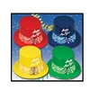 "Each of these brightly colored plastic hats say ""Happy New Year"" on the front, with a 2017 printed foil card stock band attached. Hats are priced individually, but sold in quantities of 25 per box."
