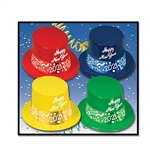 "Each of these brightly colored plastic hats say ""Happy New Year"" on the front, with a 2021 printed foil card stock band attached. Hats are priced individually, but sold in quantities of 25 per box."