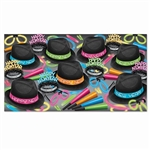 The Neon Glow Chairman Asst for 50 is perfect for adding a touch of color and excitement to your New Year celebration! Each kit contains 25 velour chairman hats, 25 glittered fringed tiaras, 50 neon horns, and 48 glow accessories.