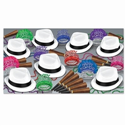 The Havana Asst for 50 has everything you need to ring in the New Year with your friends in style! Each kit contains 25 Velour hats, 15 glittered fringed foil tiaras, 10 glittered feathered tiaras, 50 cigar horns, and 25 party beads.