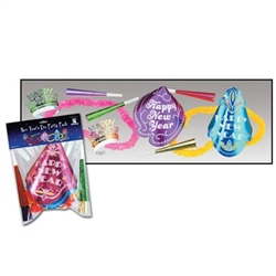 The U S Asst for 4 features two paper Happy New Year hats, two Happy New Year foil tiaras, two colorful poly leis and four 9-inch paper foil horns. This economical kit is perfect for four people headed out for New Year's. Sized to fit average adults.