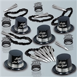 Perfectly sized for a small New Years Eve party, this party kit has enough hats, horns, tiaras, and poly leis to supply up to 10 guests. Black hats and tiaras have silver accents and coordinate with the included silver foil horns and black poly leis.