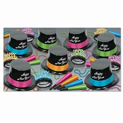 The Neon Legacy Asst for 50 will add color and sophistication to your New Year celebration! Each kit contains 25 plastic toppers with foil band, 25 glittered fringed tiaras, 50 neon horns, and 25 party beads.