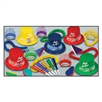 Are you having a small New Years party? Get the hats, noisemakers and party favors you need all in one box with this Countdown Assortment. Guests will love these plastic top hats, fringed tiaras, horns, noisemakers and plastic leis from Partycheap