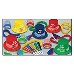 Each assortment contains 25 plastic top hats with a matching 2019 foil band, 25 cardstock foil tiaras that are both glittered and fringed, 30 assorted card stock foil horns, 25 assorted soft-twisted poly leis, and 20 noisemakers
