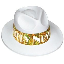 White Swing Gold New Year Fedora
