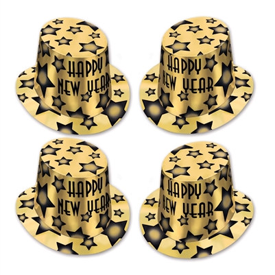 Gold Gem-Star New Year Top Hat Party Pack of 25