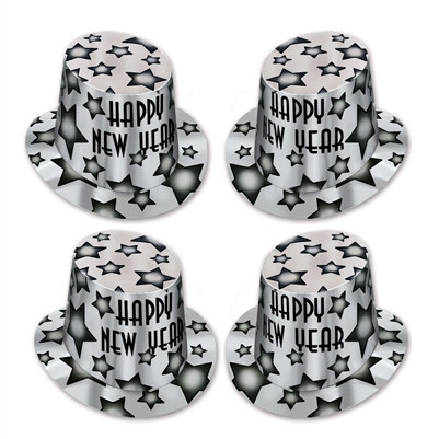 Silver Gem-Star New Year Top Hat Party Pack of 25