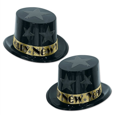 Gold New Year Star Top Hat Party Pack of 25