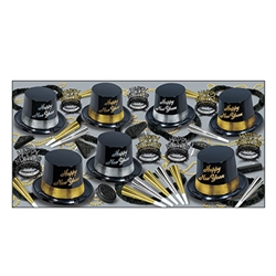 This Silver Gold Legacy Assortment is a sophisticated party kit for 50 that is ready for to help you bring in the New Year. An assortment of top hats, tiaras, leis, noisemakers and bead necklaces ensures there is something for everyone!