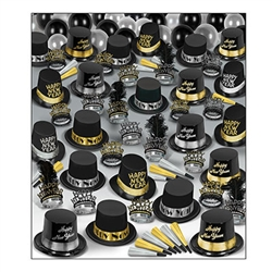 This New Year's party kit will outfit 100 of your guests with an assortment of hats, horns and tiaras. Black hats and black tiaras come adorned with accents of silver and gold. Gold and silver foil horns included for guests to blow at midnight.
