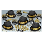 Chairman Gold Asst for 10 is perfect for smaller NYE parties. Each assortment contains hats, tiaras, horns, and beads- enough to outfit up to 10 people. All items are in a black and gold color scheme.