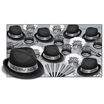 "Your guests will surely ring in the New Year in style! This great New Year's kit contains 25 black plastic velour fedora hats, 25 silver glittered foil tiaras, 50 silver foil horns, and 25 strands of silver 33"" party beads."