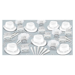 The Chairman White Asst for 50 adds elegance and class to your New Year celebration! This high-quality collection of hats, tiaras, horns and beads in stylish white adds the perfect finishing touch to your outfit!