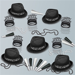 Do New Year's Eve in style with this dapper New Years kit. Turn heads at any New Year's Eve party you attend. Color coordinated black velour hats and black foil tiaras are classic party favors for you and 10 of your guests.
