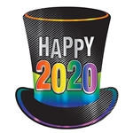 Top off your New Year's Eve celebration and welcome in 2020 with this large, eye-catching 2020 Foil Top Hat Cutout.  Printed both sides on high quality cardstock this large cutout measures 17 inches tall by 14.25 inches wide.