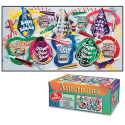 The Americana Asst for 10 is a classically styled New Year's assortment featuring iconic shaped paper Happy New Year hats, tiaras, horns, poly leis, and serpentine throws. Supplies enough NYE accessories for up to 10 people.
