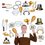 Grab a friend, one of these props and a camera and start making hilarious memories! Printed on both sides of cardstock material, these photo fun props feature a pilgrims hat, turkey beak, chicken legs, pumpkin pie and much more!  12 designs per package