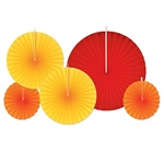 The Accordion Paper Fans - Red, Golden-Yellow, Orange are made of paper and sizes range in measurement from 8 inches to 16 inches. Come in an assortment of colors including red, golden-yellow, and orange. Contains 5 fans per package.