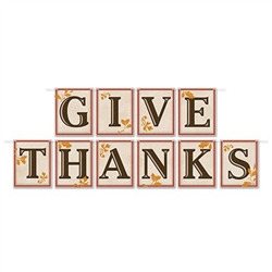 "This Give Thanks Pennant Banner is printed on one side of cardstock material, It spells out ""Give Thanks"" on brown square pennants that are accented with orange colored leaves. Measures 12 feet log with 10 pennants attached."