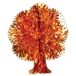 Shiny red, yellow, and orange metallic Fall Tree made entirely of foil material. Includes a clear plastic string for easy hanging and features easy assembly. Measures 13 inches tall.