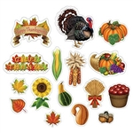 These Thanksgiving Cutouts represent a variety of fall and Thanksgiving themed icons. Printed on both sides of card stock, the cutouts can be used for a wide variety of decorating or DIY crafts. 16 pieces per package. Size range from 4.5 to 13.25 inches.