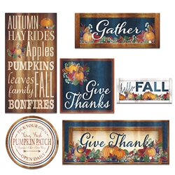 Add a classic, rustic look to your Thanksgiving and fall decor with the classic and colorful Foil Fall Thanksgiving Cutouts.  Each package includes six cutout that are printed both sides.  Hang them on a wall, door or any flat surface !