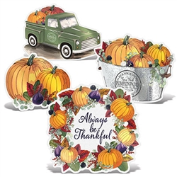 Create a nostalgic feel for your Thanksgiving season with these colorful Foil Fall Thanksgiving Cutouts w/Easels.  Each cutout includes an easel on the back to make placing on tables, mantles, window sills and any flat area simple and easy.