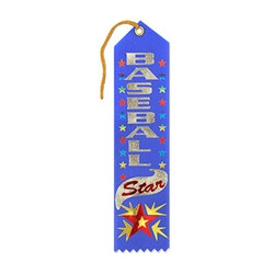 "Recognize the great effort of your favorite baseball player by giving them this blue satin award ribbon. With a gold string, and attached card, you can personalize the ribbon and proudly hang for display. Each ribbon is pre-printed with ""Baseball Star""."