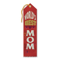 Red and White World's Best Mom Ribbon