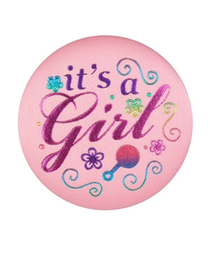 It's A Girl Satin Button
