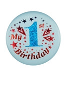 Blue My 1st Birthday Satin Button