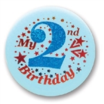 Blue My 2nd Birthday Satin Button