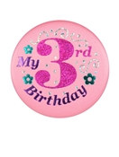 Pink My 3rd Birthday Satin Button