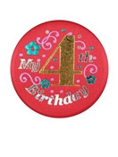 Red My 4th Birthday Satin Button
