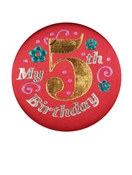 Red My 5th Birthday Satin Button