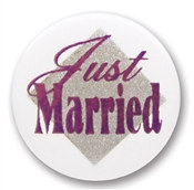 Just Married Satin Button