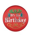 Red It's My Birthday Satin Button