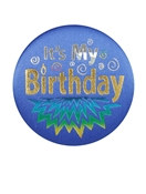 Blue It's My Birthday Satin Button