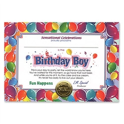 Birthday Boy Award Certificates