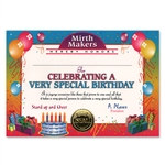 Very Special Birthday Award Certificates