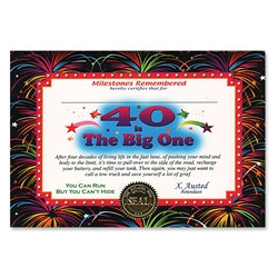 40 Is The Big One Award Certificates
