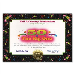50 Is The Big One Award Certificates