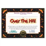 Over The Hill Award Certificates
