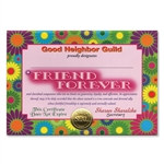 Friend Forever Award Certificates