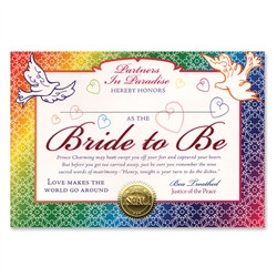 Bride To Be Award Certificates