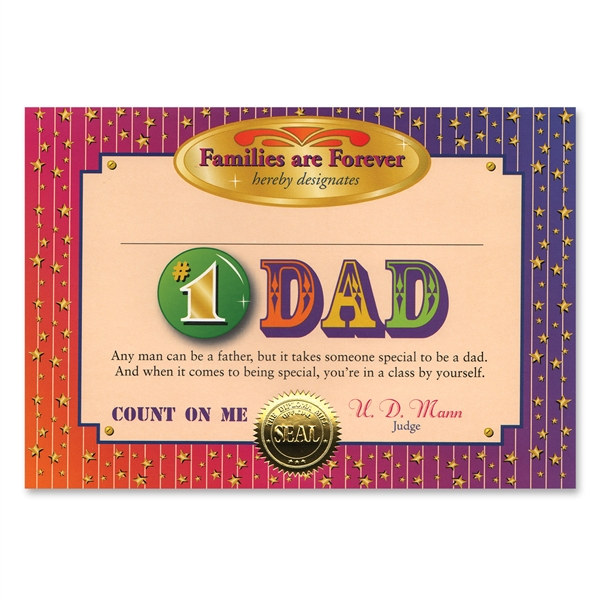 1 dad certificate award certificates partycheap