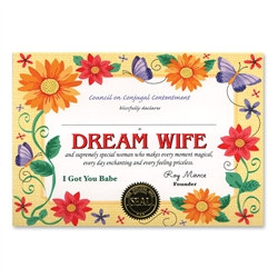 Dream Wife Award Certificates